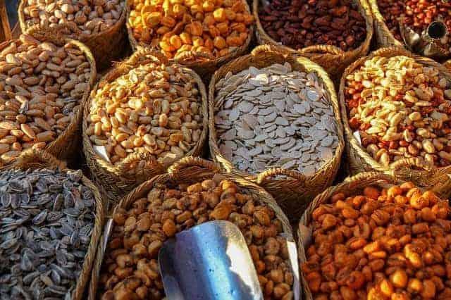semillas de girasol, calabaza, maíz, nueces