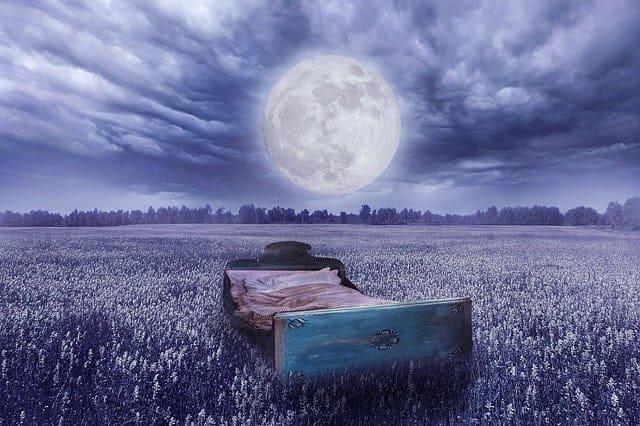 la realidad del sueño - una cama en un prado, la luna llena
